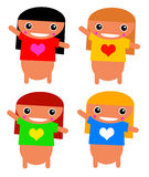 Happy girls. Happy cartoon girls with different color of hair and t-shirt Royalty Free Stock Photos