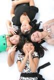 Happy girls. High angel on white background Stock Image