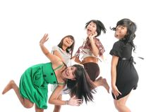 Happy girls. Jumping on white background Stock Photography