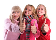 Happy girls in autumn clothes Stock Photography