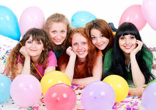 Happy girls with balloons Royalty Free Stock Photography
