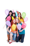 Happy girls with balloons Stock Image