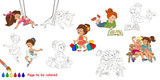 Happy girls big coloring book. Royalty Free Stock Photo
