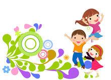 Happy girls and boys Royalty Free Stock Images