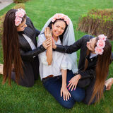 Happy girls celebrating a bachelorette party of bride Royalty Free Stock Images