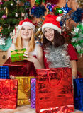 Happy girls celebrating Christmas Stock Photography