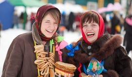 Happy girls celebrating  Shrovetide Royalty Free Stock Photos