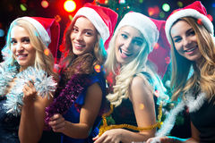 Happy girls at a Christmas stock photography