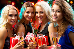 Happy girls at a Christmas party Royalty Free Stock Photography