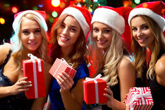 Happy girls at a Christmas party Royalty Free Stock Photos