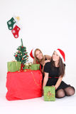 Happy girls in christmas time Royalty Free Stock Photos