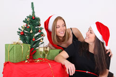 Happy girls in christmas time Stock Image