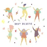 Happy girls and different objects set Woman figure in motion Body positive concept vector illustration