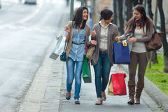 Happy girls doing shopping Stock Photography