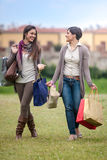 Happy girls doing shopping Royalty Free Stock Image