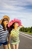 Happy girls enjoy summer vocation stock images