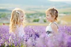 Happy girls in field Royalty Free Stock Photography