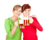 Happy girls friends with beer Stock Images