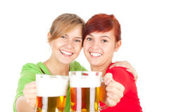 Happy girls friends with beer Royalty Free Stock Photography