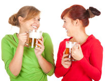Happy girls friends with beer Royalty Free Stock Photo