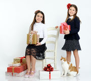 Happy girls with the gifts. Happy girls with the christmas gifts royalty free stock photo