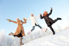 Happy girls jumping Royalty Free Stock Photo