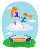 Happy girls jumping on the trampoline. Illustration royalty free illustration