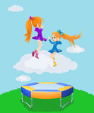 Happy girls jumping on the trampoline. Illustration. Two happy girls jumping on the trampoline. Illustration royalty free illustration