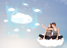 Happy girls looking at modern cloud network Stock Photos