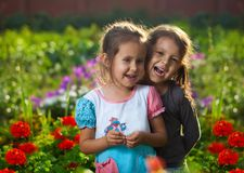 Happy girls on the meadow Royalty Free Stock Image