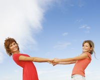 Happy girls outdoors Stock Photography