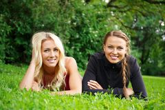 Happy girls outdoors Royalty Free Stock Image