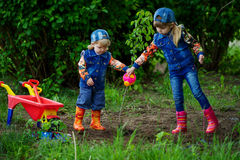 Happy girls planting tree Royalty Free Stock Photography