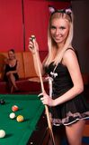 Happy girls playing in billiard Stock Image