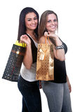Happy Girls Shopping Stock Image