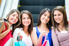 Happy girls shopping Royalty Free Stock Images