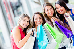 Happy girls shopping Royalty Free Stock Photography