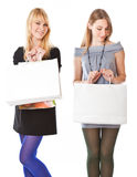 Happy girls with shopping bags Stock Photos