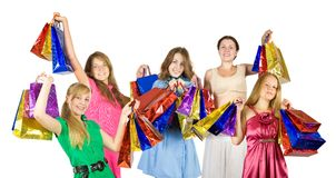 Happy girls with shopping bags Royalty Free Stock Photography