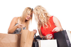 Happy girls shopping Royalty Free Stock Photo