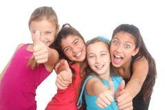 Happy girls showing thumbs up Stock Image
