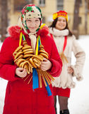 Happy girls during  Shrovetide in Russia Stock Photos