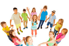 Happy girls standing in kids circle Stock Photography
