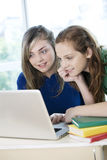 Happy girls studying in computer Royalty Free Stock Photos