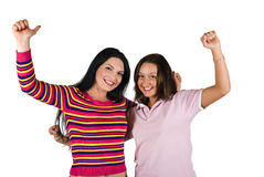 Happy girls successful Royalty Free Stock Images