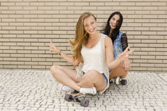 Happy girls. Two beautiful and young girlfriends having fun with a skateboard Stock Photos