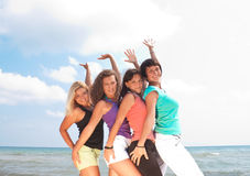 Happy girls on vacation Stock Photography