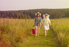 Happy girls walking Royalty Free Stock Photography