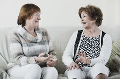 Happy glad mature women sitting on sofa. And chatting Stock Images