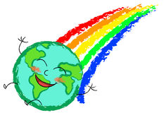 Happy globe rainbow stock photos